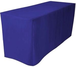 6 Ft Fitted Polyester Table Cover Trade Show Booth Dj Tablecloth Royal Blue