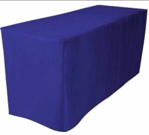 8 Ft Fitted Polyester Tablecloth Trade Show Booth Dj Table Cover Royal Blue