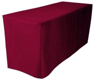 6 Ft Fitted Polyester Tablecloth Wedding Trade Show Table Cover Burgundy