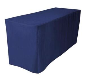 8 Ft Fitted Polyester Tablecloth Trade Show Booth Wedding Dj Table Cover Navy