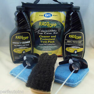 Raggtopp Vinyl Protectant Cleaner Kit Horse Hair Convertible Brush 2 Microfiber
