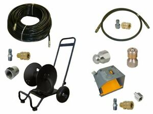 Sewer Jetter Cleaner Kit Foot Valve 200 X 1 4 Hose Reel And Nozzles