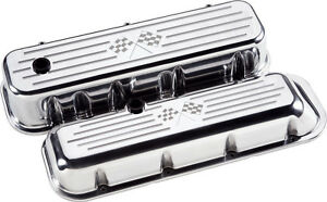 Billet Specialties Cross Flags Polished Aluminum Bbc Tall Valve Covers chevy