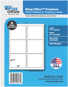 Po09 Premium Shipping Labels Self Adhesive 6 Per Sheet 4 X 3 33 Pro Office