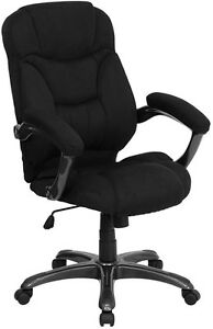 Contemporary High Back Black Microfiber Upholstered Office Chair
