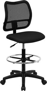 Mid back Mesh Medical Office Computer Chair In Black Fabric W drafting Stool