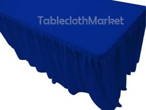 8 Fitted Table Skirting Cover W top Topper Single Pleated Trade Show Royal Blue
