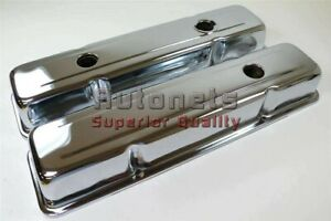 Small Block Chevy 350 Chrome Short Steel Valve Cover W Oil Cap Hole283305327400