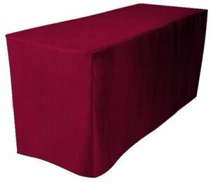 8 Ft Feet Fitted Polyester Tablecloth Trade Show Booth Table Cover Burgundy