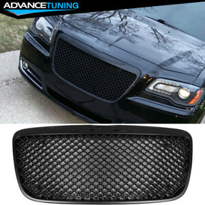 For 11 14 Chrysler 300 300c B style Front Mesh Grill Grille Unpainted Black