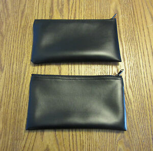 2 Black Vinyl Zipper Bank Bags Money Jewelry Pouch Coin Currency Wallet Coupons
