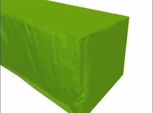 8 Ft Fitted Polyester Tablecloth Trade Show Booth Dj Table Cover Apple Green