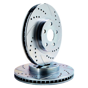 Rear Set Double Cross drilled Arc slotted Zinc Coated Premium Rotors Atl046881