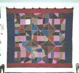 Abstract Crazy Quilt In Burgundy Blue Border 68 X 74 Wools Fancywork