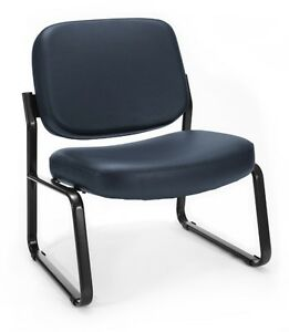 Big Tall 400 Lbs Capacity Anti bacterial Navy Vinyl Medical Office Guest Chair