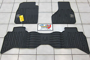 2009 2012 Dodge Ram 1500 Quad Cab All Weather Rubber Slush Floor Mats Mopar Oem