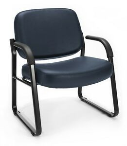 Big Tall 400 Lbs Capacity Anti bacterial Navy Vinyl Medical Guest Chair W arms