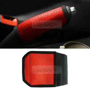Sports Parking Hand Brake Boot Synthetic Leather Cover Red Garnish For Honda