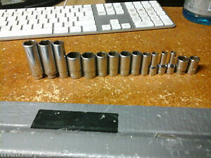 Snap On Mac Tools Lot Of 15 1 4 Drive Sockets Sae Metric 6pt Used