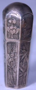 Antique C1800 S Sterling Signed Etui 6 Way Diffirent Floral Designs Sewing Set