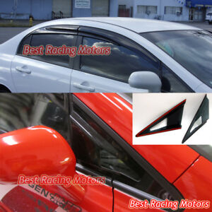 Mu gen Style Side Window Side Mirror Air Vent Visors Fit 06 11 Civic 4dr