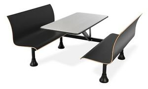 24 X 48 Restaurant Black Retro Bench W stainess Steel Table Top