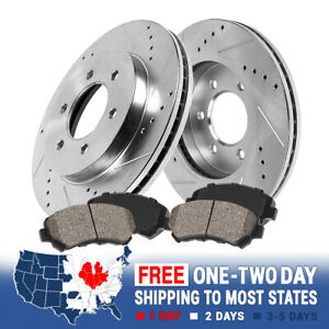 Front Drill Slot Brake Rotors Ceramic Pads Chevy Escalade Avalanche Silverado