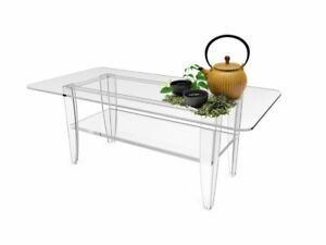 All Clear Tabel Plexiglass Coffee Table Lucite Frame Glass Top Sofa Clear Table