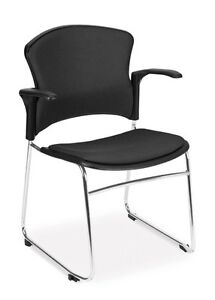 Multi use Black Fabric Stackable Medical Office Side Chair W arms guest Seating
