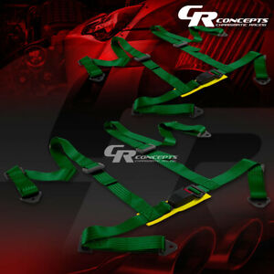 2x 4 Point 2 Wide Green Strap Harness Safety Buckle Style Racing Seat Belt Bolt