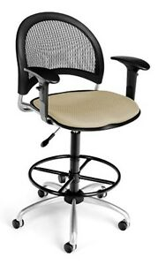 Medical Office Task Chair In Khaki Fabric W drafting Stool Arms Lab Stool