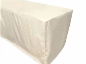 4 Ft Fitted Polyester Table Cover Trade Show Booth Wedding Dj Tablecloth Ivory