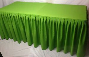 8 Fitted Polyester Double Pleated Table Skirting Cover W top Topper Apple Green