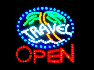 Ultra Bright Led Neon Light Animated Travel Open Business Sign 19 x19 Lb97