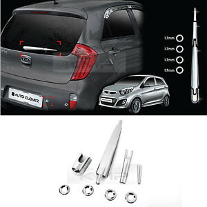 Chrome Rear Window Wiper Pdc Hole Molding Cover Garnish For Kia 2011 17 Picanto