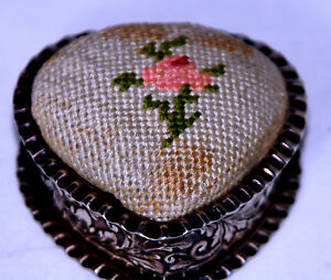 Antique Gorham Sterling Silver Repousse Heart Pin Cushion Novelty Figural