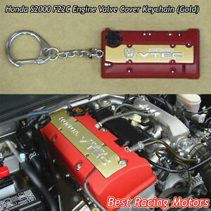 F22c Engine Valve Cover Style Keychain gold Fits Honda S2000