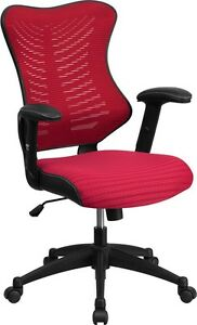 Mid back Dark Red Mesh Office Chair With Nylon Base