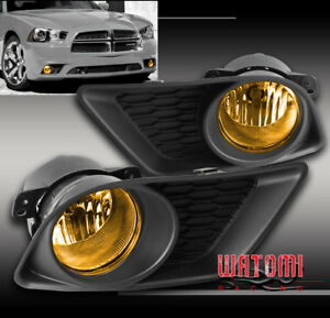 11 14 Dodge Charger Bumper Driving Yellow Fog Light Lamp W Bulb Cover Switch Kit