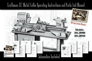 Craftsman 12 Metal Lathe Operating And Parts List Manual 101 28900 101 28910