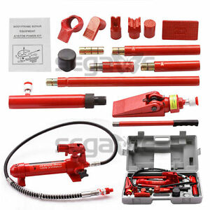 4 Ton Porta Power Hydraulic Jack Air Pump Lift Ram Repair Tool Kit Auto Body New