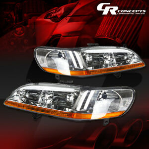 Pair Chrome Housing Amber Corner Headlight lamps Lh rh For 98 02 Honda Accord Cg