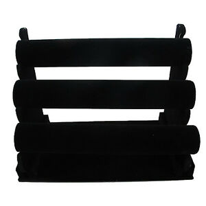 High Quality 3 tier Black Velvet Jewelry Bracelet Watch Display Rack Holder