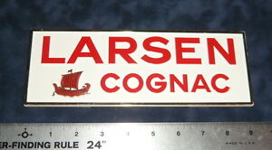 Vintage Small Plastic Larsen Cognac Alcohol Wall Sign Retail Shop Bar Display