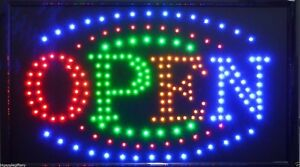 Large Bright Animated Business Led Open Sign W Switch 21 X13 24