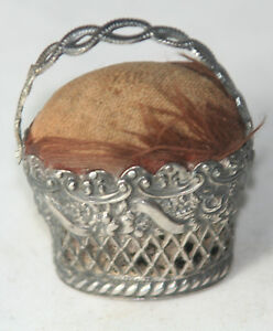 Original Antique C1800 Sterling Basket Pin Cushion Novelty From England