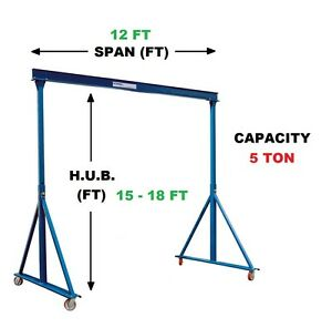 Gorbel Adjustable Gantry Crane 5 Ton Capacity Span 12 Ft Adj Hub 15 18 Ft