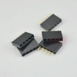 50pcs 2 54mm Pitch 5pin Female Single Row Straight Header Strip Socket Connector