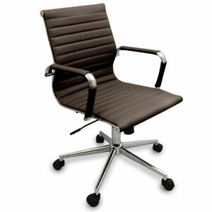 New Coffee Brown Modern Ribbed Office Chair Computer Desks Conference Rooms