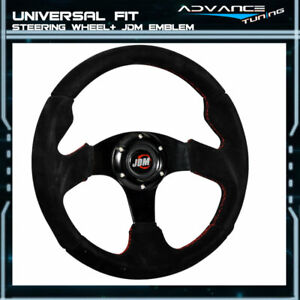 Universal Racing Steering Wheel 320mm Black Suede Spoke Red Stitch Jdm Horn